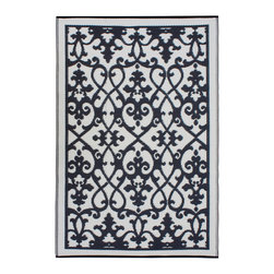 Fab Habitat - Venice Rug, Cream & Black, 5x8 - Add a touch of Venetian splendor to your patio or playroom. This festive all-weather rug is woven from straws made of recycled plastic. Washable and mildew resistant, it's an ideal blend of good looks and easy maintenance. Comes with its own tote bag, for convenient transport or storage.