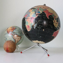 Vintage Retro Black Globe by Bellalulu Vintage - Vintage globes are still as popular as ever. I'd love this black globe in a stylish office.