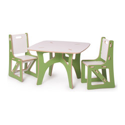 Quark Enterprises - Kids Table and Matching Chairs Set, Green and White - This is a great little table and chairs combo. The table is easily stored away and then quickly re-assembled when needed. The chairs are sturdy and you can feel good because they're made from recycled materials in the USA.