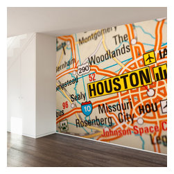 WallsNeedLove - Houston Map Wall Mural Decal - They say home is where the heart is...we say home is where you put a giant mural on your wall to mark where you heart is...
