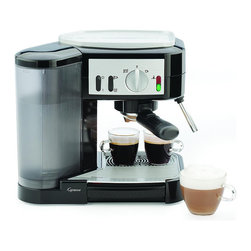 "Frontgate - Capresso Espresso and Cappuccino Machine - Top-quality ThermoBlock heating system with 16 bar pressure. Removable 48 oz. water container with self-locking valve can be transported to the sink for easy filling. Safety self-locking filter holder with thumb guard. Selector switch for espresso/cappuccino or steam/hot water functions. Hot water switch allows you to produce tea or cafe Americano. The dual-sieve Capresso Espresso and Cappuccino Machine can make one or two delicious espressos at a time with its powerful 16 bar high-pressure pump. If you prefer cappuccino or latte, the convenient swivel frother with unlimited steam allows you to froth directly in a tall glass or frothing pitcher with positively delicious results. . . . .  . Removable drip tray is easy to clean. Indicator lights for ""warm up"" and ""ready"". Integrated metal cup warming function. Concealed cord storage. 48"" cord. 120V. This item is ineligible for discounts."