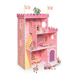 Fantasy Play Castle Dollhouse With Accessories - The Fantasy Play Castle dollhouse from Badger Basket Toys will provide kids with hours of imaginative play. Featuring vivid colors and details, this castle comes with a royal family and accessories.