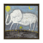 Kathy Kuo Home - Baby Elephant Hand Drawn Gray Blue Reclaimed Wood Wall Art - Small - Never forget that color and childlike whimsy have an important place in home design. This sweet, folksy white elephant is prancing on a field of bright blue sky and brown earth, with pops of yellow. It's finished in a frame handmade from reclaimed wood for more sweet vintage appeal.
