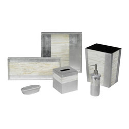 Belle & June - Mother of Pearl Bath Set - Bring the art museum into your bathroom with this luxurious, handmade bath set. Only the finest materials are used — mother of pearl and silver leaf — to create these beautiful accessories. Spoil yourself or your guests with these sophisticated pieces. They food friendly so the tray can be used as a serving dish.