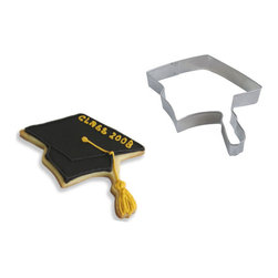 RM - Graduation Cap 4.5 In. B0982 - Graduation Cap cookie cutter, made of sturdy tin, Size 4.5 in., Depth 7/8 in., Color silver