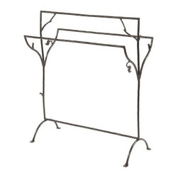 Stone County Ironworks - Sassafras Blanket Stand (Natural Black) - Finish: Natural Black. Heirloom quality. Organic or rustic twist. Graceful and elegant branch. Twig work. Arched penny foot design. Made from iron. 30 in. L x 15 in. W x 35 in. H (28 lbs.)