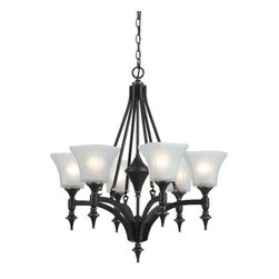 Cal Lighting - Cal Lighting FX-3541/6 6 Lights Rockwood Iron Chandelier With Glass Shade - Features: