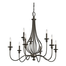 Kichler Lighting - Kichler Lighting Kensington 9-Light Traditional Classic Chandelier X-ZO13334 - You can scour antique stores for that perfect vintage birdcage - or you can add a touch of that style when you bring this 9 light chandelier from the Kensington&trade: collection home. Slender ironwork ebbs and flows in an Olde Bronze&trade: finish, creating an elegant interpretation of a decorating classic.