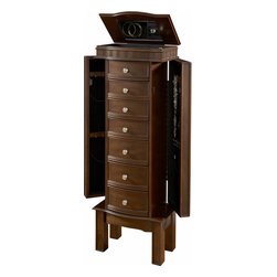 Powell - Powell Miscellaneous Jewelry Armoires English Country Jewelry Armoire - The English Country Jewelry Armoire provides safe storage for your entire jewelry collection. The armoire has a rich English Country finish that will add warmth to your space. Multiple drawers and side doors provide a copious amount of storage space.  Simple round pulls accent each drawer, while the top of the armoire has a straight lined carved detail that adds visual interest to the piece. Some Assembly Required.