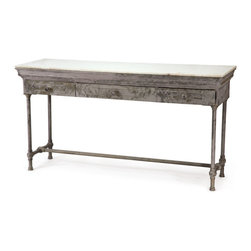 Vintage Chic Home - Go Home Artisanal Table - This artisan console table has a marble top and a steel base. With an antique hand finish this is the perfect addition to a country chic furniture collection.