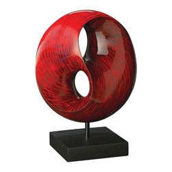 Howard Elliott - Red Tubular Sculpture - This sculpture features a round infinity shape and is finished a faux stone red lacquer and is set on a black stand.