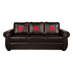 Dreamseat Inc. - University of Nebraska NCAA Cornhuskers Chesapeake Brown Leather Sofa - Check out this Awesome Sofa. It's the ultimate in traditional styled home leather furniture, and it's one of the coolest things we've ever seen. This is unbelievably comfortable - once you're in it, you won't want to get up. Features a zip-in-zip-out logo panel embroidered with 70,000 stitches. Converts from a solid color to custom-logo furniture in seconds - perfect for a shared or multi-purpose room. Root for several teams? Simply swap the panels out when the seasons change. This is a true statement piece that is perfect for your Man Cave, Game Room, basement or garage.