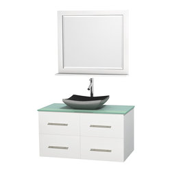 "Wyndham Collection - Centra 42"" White Single Vanity, Green Glass Top, Altair Black Granite Sink - Simplicity and elegance combine in the perfect lines of the Centra vanity by the Wyndham Collection. If cutting-edge contemporary design is your style then the Centra vanity is for you - modern, chic and built to last a lifetime. Available with green glass, pure white man-made stone, ivory marble or white carrera marble counters, with stunning vessel or undermount sink(s) and matching mirror(s). Featuring soft close door hinges, drawer glides, and meticulously finished with brushed chrome hardware. The attention to detail on this beautiful vanity is second to none."
