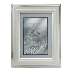 Lawrence Frames - 8x10 Metal Picture Frame Silver-Plated Step - A beautiful silver plated frame with a stepped two tone silver design.  This silver plated and lacquer coated frame has a brushed finish with shiny silver outer lip and stepped dimension which gives this frame a very elegant look.  High quality navy blue velvet backing with an easel for vertical or horizontal table top display, and hangers for vertical or horizontal wall mounting.    Heavy weight 8x10 metal picture frame is made with exceptional workmanship and comes individually boxed.