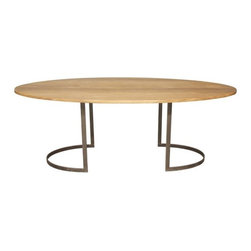 RION Furniture - Oval Table w/ Walnut Top - GTAB465 - Oval Table w/ Walnut Top