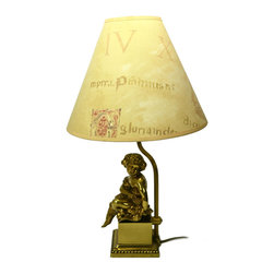 Lavish Shoestring - Consigned Table Lamp with Brass Figure and Adjustable Shade, Vintage English - This is a vintage one-of-a-kind item.
