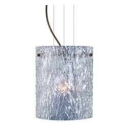 Besa Lighting - Besa Lighting 1KG-400600-LED Tamburo 1 Light LED Cable-Hung Pendant - Tamburo is a classic open-ended cylinder of handcrafted glass, a shape that will stand the test of time. Our Clear Stone glass is a clear blown glass with an outer texture of coarse sandstone. Inspired by the elements of nature, the appearance of the surface resembles the beautiful cut patterning melting ice over a rock formation. This blown glass is handcrafted by a skilled artisan, utilizing century old techniques that have been passed down from generation to generation. Each piece of this decor has its own artistic nature that can be individually appreciated. The cable pendant fixture is equipped with three (3) 10' silver aircraft cables and 10' AWM cordset, and a low profile flat monopoint canopy.Features: