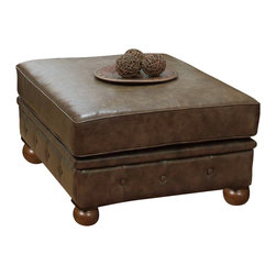 Armen Living - Armen Living Winston Vintage Ottoman in Mocha - Armen Living - Ottomans - LC1060OTVICO - Designed to offer a multitude of uses this classic ottoman is a staple in every room requiring refinement and elegance. The aesthetically pleasing antique bonded leather cover offers years of low maintenance while the antique nails accentuate the quality of the piece. Richly appoint your living space with this luxurious ottoman.