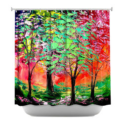 DiaNoche Designs - Shower Curtain Artistic - Thoughts of Spring - DiaNoche Designs works with artists from around the world to bring unique, artistic products to decorate all aspects of your home.  Our designer Shower Curtains will be the talk of every guest to visit your bathroom!  Our Shower Curtains have Sewn reinforced holes for curtain rings, Shower Curtain Rings Not Included.  Dye Sublimation printing adheres the ink to the material for long life and durability. Machine Wash upon arrival for maximum softness on cold and dry low.  Printed in USA.