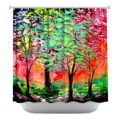 DiaNoche Designs - Shower Curtain Artistic - Thoughts of Spring - DiaNoche Designs works with artists from around the world to bring unique, artistic products to decorate all aspects of your home.  Our designer Shower Curtains will be the talk of every guest to visit your bathroom!  Our Shower Curtains have Sewn reinforced holes for curtain rings, Shower Curtain Rings Not Included.  Dye Sublimation printing adheres the ink to the material for long life and durability. Machine Wash upon arrival for maximum softness. Made in USA.  Shower Curtain Rings Not Included.
