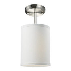 """Z-Lite - Z-Lite 1 Light Mini Pendant - Add a modern accent to your room with the Albion family.  The mini semi flush is ideal to pop accent light into a small area.  This mini semi flush drum shade is covered in a finely textured white linen fabric with a finished edge trim detail.  This fixture is finished in brushed nickel and comes with one 4 1/2"""" rod for a semi flush mount."""
