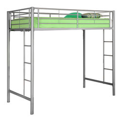 Walker Edison - Silver Metal Twin Loft Bed - Beloved for its compact foot print, this loft bed is a necessity for your children's bedroom. The sturdy, steel frame promises stability and function to support a twin size mattress and up to 250 pounds. Features full length guardrails and two integrated ladders, one on each end. This ideal space-saver is the perfect addition for your bedroom.