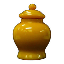 Golden Lotus - Chinese Solid Yellow Peking Glass Mini Temple Jar - This is a decorative piece hand made with thick solid yellow Peking glass. It has simple clean design but charm color.