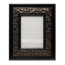 Lawrence Frames - 5x7 Wide Black w Bronze Vine Picture Frame - Fabulous wide black and bronze picture frame with floral embossing.  This is a gorgeous and elegant picture frame that will be a great decorative addition to any room.  Comes with a two way easel for vertical or horizontal table top display, and hangers for vertical or horizontal wall mounting.  High quality black velvet backing.  Picture frame comes with glass to protect your photo, and is individually boxed.