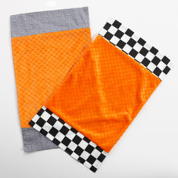 "Teyo's Tires - Burp Cloth - Burp cloths come with ""One Grace Place"" signature minky fabrics .  Both with this collections vibrant orange.  One trimmed with ""Checkered Flags"" cotton print fabric and the other with ""Sheet Metal"" cotton print fabric.  Also available in sets!"