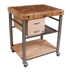 Kitchen Worktable - A kitchen cart like this can be pushed up against the counter of an existing island or run of cabinets to add extra storage and counter space.