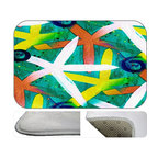 Beach Star Fish Plush Bath Mat, 20X15 - Bath mats from my original art and designs. Super soft plush fabric with a non skid backing. Eco friendly water base dyes that will not fade or alter the texture of the fabric. Washable 100 % polyester and mold resistant. Great for the bath room or anywhere in the home. At 1/2 inch thick our mats are softer and more plush than the typical comfort mats.Your toes will love you.