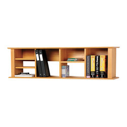 Prepac - Prepac Sonoma Maple Wall Hanging Desk Hutch - Add storage space right where you need it with the wall mounted desk hutch. With its unique design and our innovative two-piece hanging rail system, this hutch has ample space for workspace necessities that just don't fit in your desk. Adjust the four shelves to accommodate books, binders, disks or even decorative items. This piece is a simple way to double your desk's storage without taking up valuable floor space.