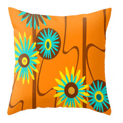 Crash Pad Designs - Crash Pad Designs Mod Throw Pillow - Can you dig it? Pretty much wherever you plant this mod floral pillow, the surrounding area will immediately come to life. And it's not picky about surroundings either, because it flourishes with all kinds of bed linens, sofa upholstery or chair patterns.