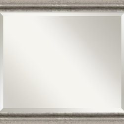 Amanti Art - Bel Volto Wall Mirror - A burnished pewter color with black antique lines, this frame is accented by a raised outer edge.