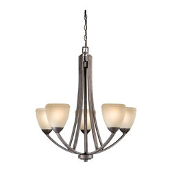 Vaxcel Lighting - Vaxcel Lighting Helsinki Transitional 5-Light Chandelier X-WB500UHC-SH - The design of this attractive transitional chandelier embraces the modern style with clean lines and versatile appeal. The Vaxcel Lighting Helsinki Transitional chandelier features a black walnut finish providing subtle relief against the honey linen glass shades. This lovely chandelier is an ideal addition for a casual environment.
