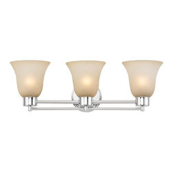 Design Classics Lighting - Modern Bathroom Light with Brown Art Glass in Chrome Finish - 703-26 GL9222-CAR - Contemporary / modern chrome 3-light bathroom light. A socket ring may be required if installed facing down. Takes (3) 100-watt incandescent A19 bulb(s). Bulb(s) sold separately. UL listed. Damp location rated.