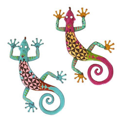 Woodland Imports - Vibrant Metal Gecko Wall Statues Tribal Home Patio Decor Set of 2 - Vibrant pair of metal gecko wall sculptures in bold bright colors with fun tribal design accents home patio decor
