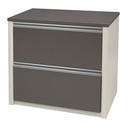 "Bestar - Bestar Connexion 30"" Lateral File in Slate and Sandstone - Bestar - Filing Cabinets - 936311159 - This Bestar Connexion 30""Lateral File is sleek and modern. It features two large drawers with letter/legal filing system. The Connexion30""Lateral File is a perfect addition to your office set."
