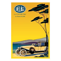 """Buyenlarge.com, Inc. - Delage - Out For a Drive - Canvas Poster 20"""" x 30"""" - High-end French luxury and sports cars of the 1930s exemplify everything we love about old automobiles. Built as road-going pieces of performance art, these machines were built on a cost-is-no-object basis with cutting-edge art and fashion as influences in their designs. Art Deco and Art Nouveau were at their peak, and beyond dictating the physical forms of these grand machines, these movements also played a huge role in their advertising, making for arguably the most refined and beautiful sales posters ever created.  Delage was a French luxury automobile and racecar company founded in 1905 by Louis Delage in Levallois-Perret near Paris; it was acquired by Delahaye in 1935 and ceased operation in 1953."""
