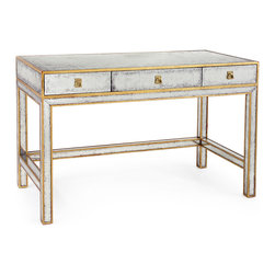 Kathy Kuo Home - Sorvino Hollywood Regency Silver Leaf Mirror Gold 3 Drawer Writing Desk - Nothing says luxury, femininity, and Old World style quite like the combination of Verre Eglomise mirror and gold leaf.  Like a lady from Marie Antoinette's court, this lovely mirrored writing desk is rich, European in heritage, gorgeous, and the object of much admiration. With brass escutcheon plates and pulls adding further contrast, it all adds up to a beautiful, covetable piece.