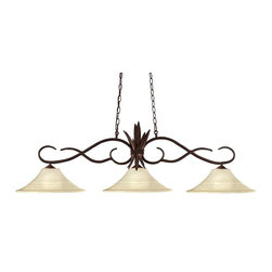 Three Light Bronze Golden Mottle Glass Island Light - Elegant curved detailing and a bold spike motif define this beautiful three light fixture. Finished in bronze and paired with fluted golden matte shades, this three light fixture would be equally at home in the game room, or anywhere else in the house needing a touch of timeless charm.72 inches of chain per side is included to ensure the perfect hanging height.