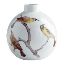 Cyan Design - Aviary Vases, Small - The Aviary Vases are sleek and modern with vintage appeal. Finely crafted of ceramic with a white finish, these unique vases are painted with a delicate bird relief.  With a contemporary shape and classic bird and branch design, the Aviary Vases are perfect for a transitional tabletop. Choose one for the perfect accent, or both sizes for a distinct collection. The Aviary Vases are also an excellent gift for the discerning hostess. Whether filled with seasonal flowers or as standalone objets d'art, these feminine bird vases are sure to bring a smile to their owner and her guests.
