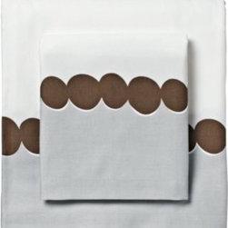 Serena & Lily - Chocolate Deco Dot Sheet Set - Such a fun, simple layer. Artfully rendered dots have a loose, organic appeal and add a great pop of color to the bed when sheets are folded down. Especially fabulous layered with big bold graphics (like our Lamu Duvet) and smaller, more uniform prints.