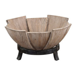 Uttermost - Daruna Bowl - Decorative bowl made of pieced natural fir wood with a matte black metal base.