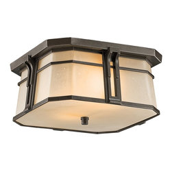 BUILDER - BUILDER 49181OZFL North Creek Arts and Crafts/Mission Fluorescent Outdoor Flush - The North Creek collection focuses on the comfortable and warm feel of cottage design. The gently tapered Light Umber etched seedy glass, shallow pitched roof line and the parallel rings in Olde Bronze shout mission. It is U.L listed for Damp Locations and 90° C Wire Rated.