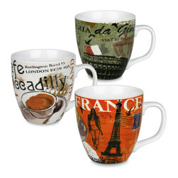 Konitz - Set of 3 Cosmopolitan Mugs -  Italy, France, England - Travel the world from the comfort of your own kitchen. Perfect for the world traveler, the Cosmopolitan Mugs add international flair to your drink. Features collages of imagery particular to European destinations, including Italy, France and England.