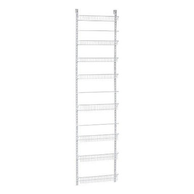 CLOSETMAID - 18 in 8 Tier Adjust Wall Rack - Store and organize various sized items. Reposition baskets to accommodate tall and short items. Close wire spacing on baskets keeps items from tilting. Wall and over-the-door multipurpose, adjustable storage solution. All hardware for wall and door mounting included. Material: Epoxy coated metal and wire.