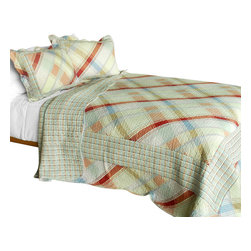 Blancho Bedding - Forever Sky 3PC Cotton Contained  Patchwork Quilt Set Full/Queen Size - Set includes a quilt and two quilted shams (one in twin set). Shell and fill are 100% cotton. For convenience, all bedding components are machine washable on cold in the gentle cycle and can be dried on low heat and will last you years. Intricate vermicelli quilting provides a rich surface texture. This vermicelli-quilted quilt set will refresh your bedroom decor instantly, create a cozy and inviting atmosphere and is sure to transform the look of your bedroom or guest room. Dimensions: Full/Queen quilt: 90 inches x 98 inches  Standard sham: 20 inches x 26 inches.