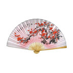 Oriental-Décor - Purity Blossoms - Beautiful red cherry blossoms explode in full bloom against a white and pink background in this amazing Chinese wall fan. The cherry blossom is the national flower of Japan and holds a sacred place in the hearts of many Asian countries. The white background of this fan symbolizes purity. Hang this magnificent Asian wall fan in your home for a superb decorative touch.