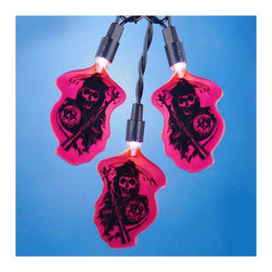 """Lamps Plus - Kids Ten Sons of Anarchy Party String Lights - Add a little fun to your indoor or outdoor spaces with this set of ten string lights featuring the Grim Reaper from Sons of Anarchy. Perfect for entertaining or as an eye-catching accent in bedrooms and more these lights add personality and cheer. Includes four spare bulbs and green wire. Sons of Anarchy string lights. 10-light string. For indoor and outdoor use. Includes ten 12v .08A clear incandescent bulbs. Includes 4 spare bulbs and 1 fuse. Includes 30"""" of green lead wire. 12"""" of spacing between lights.   Sons of Anarchy string lights.  10-light string.  For indoor and outdoor use.  Includes ten 12v .08A clear incandescent bulbs.  Includes 4 spare bulbs and 1 fuse.  Includes 30"""" of green lead wire.  12"""" of spacing between lights."""